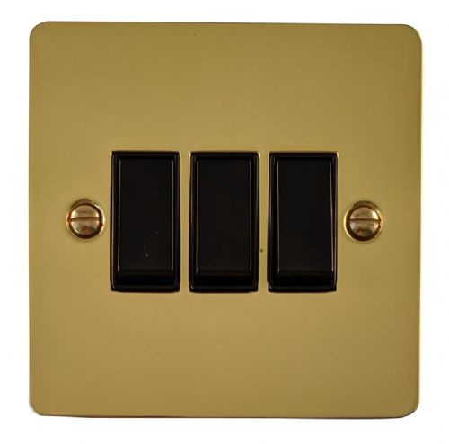 G&H FB3B Flat Plate Polished Brass 3 Gang 1 or 2 Way Rocker Light Switch